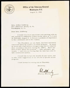 """31103Typed Letter Signed as Attorney General: """"The President, as you know, has been extremely concerned about the number of school dropouts"""""""