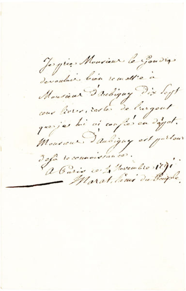 Rare Autograph Letter Signed by the French Scientist and Financier, with a Prestigious Provenance