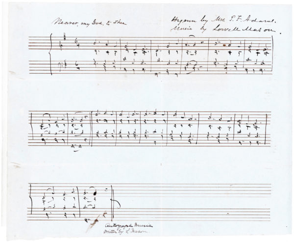 """Five-Measure Autograph Musical Quotation Signed from His Famous Song """"Listen to the Mocking Bird,"""" Inscribed to a Professor of Church Music and Hymnology in Hartford"""