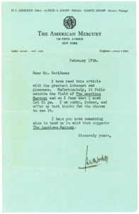 Typed Letter Signed by the Editor of 'The American Mercury' Turning Down an Article