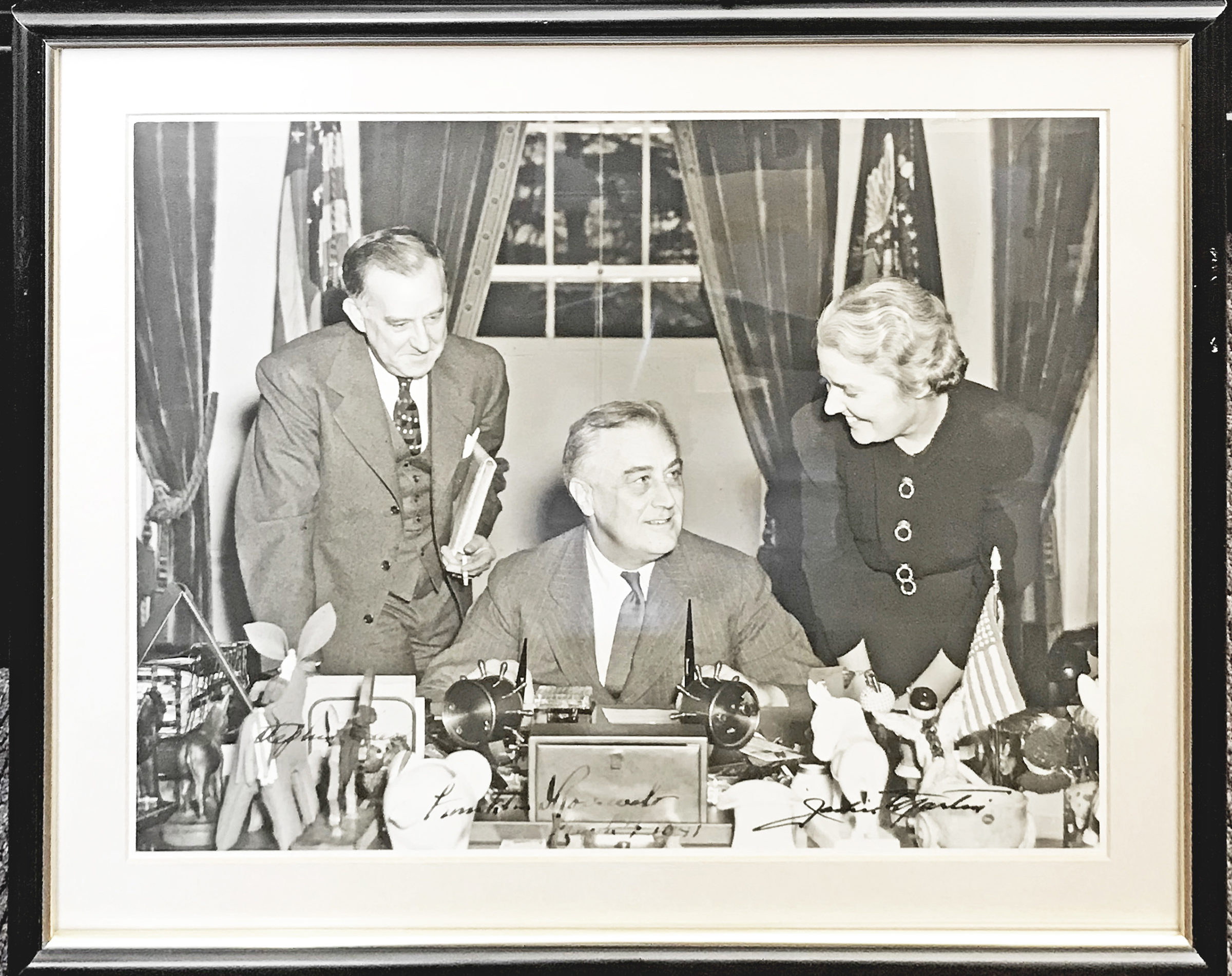 "Oversize Photograph of the President Flanked by His Press Secretary and His Longtime Private Secretary, Companion and Possible Mistress Marguerite ""Missy"" LeHand"