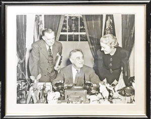 "31118Oversize Photograph of the President Flanked by His Press Secretary and His Longtime Private Secretary, Companion and Possible Mistress Marguerite ""Missy"" LeHand"