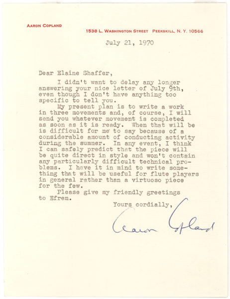 Typed Letter Signed to Paul Turok, a Composer and Critic Who Studied under Sessions at Berkeley and Princeton