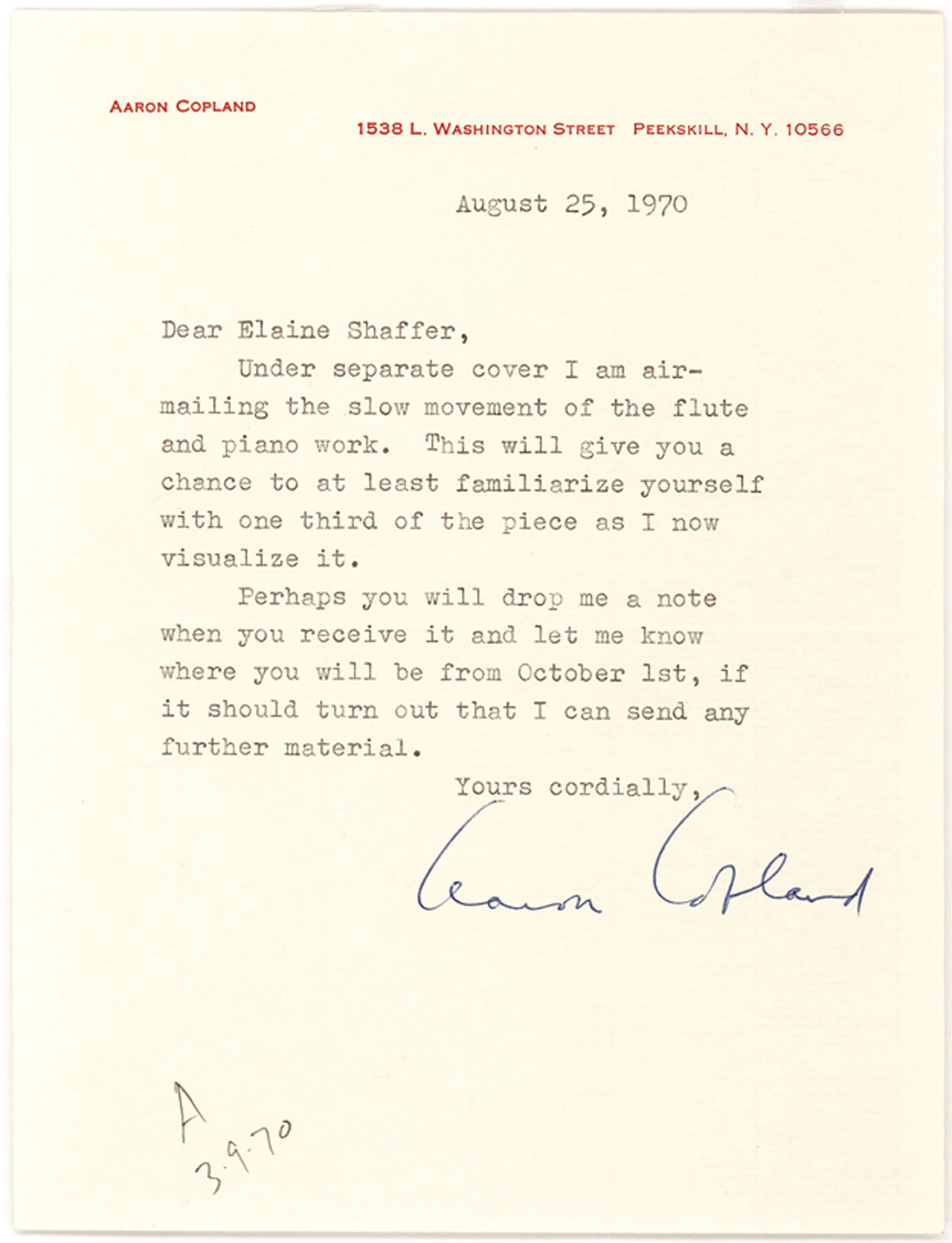 """Four letters from American Pianist and Composer Aaron Copland on his """"Duet for Flute and Piano"""""""