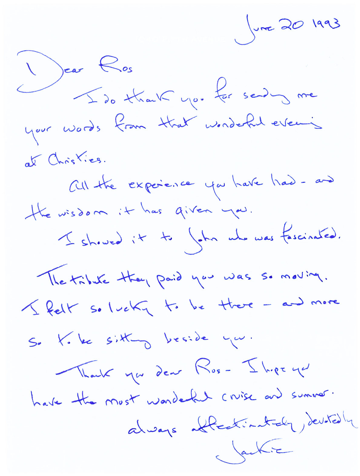 Letter to her former paramour and JFK appointee, Roswell Gilpatric
