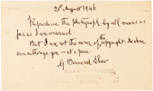 "32126Autograph Postcard Signed by the Irish playwright: ""Reproduce the photograph by all means as far as I am concerned"""