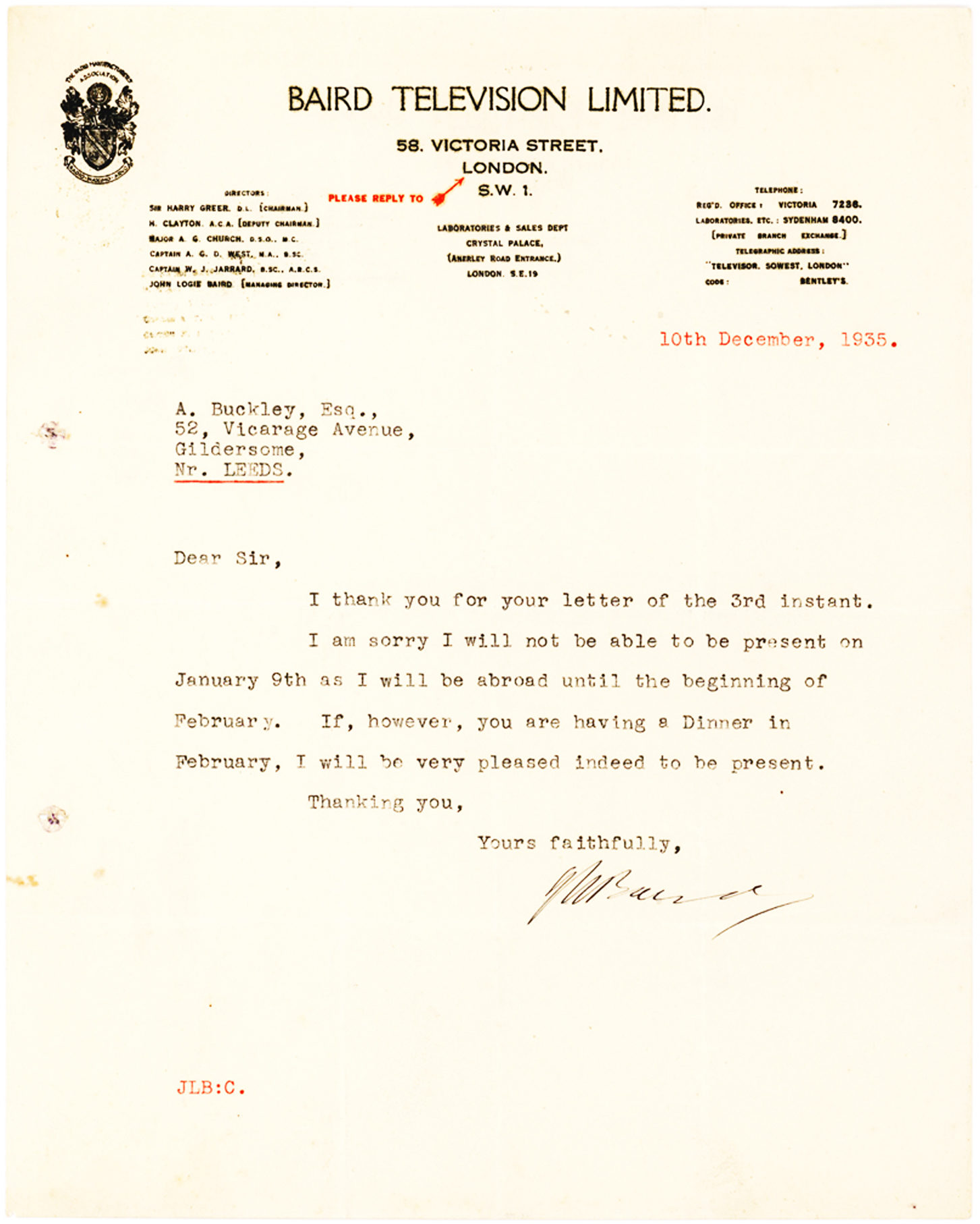 Scarce Letter from the Scottish Inventor of Television, on Baird Television Letterhead
