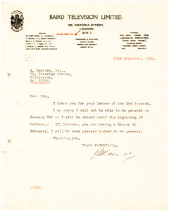 33328Scarce Letter from the Scottish Inventor of Television, on Baird Television Letterhead