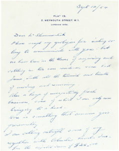 33716The Internationally Acclaimed English Conductor Sir Thomas Beecham Writes to his American Accountant about Selling his Columbia Records Royalties