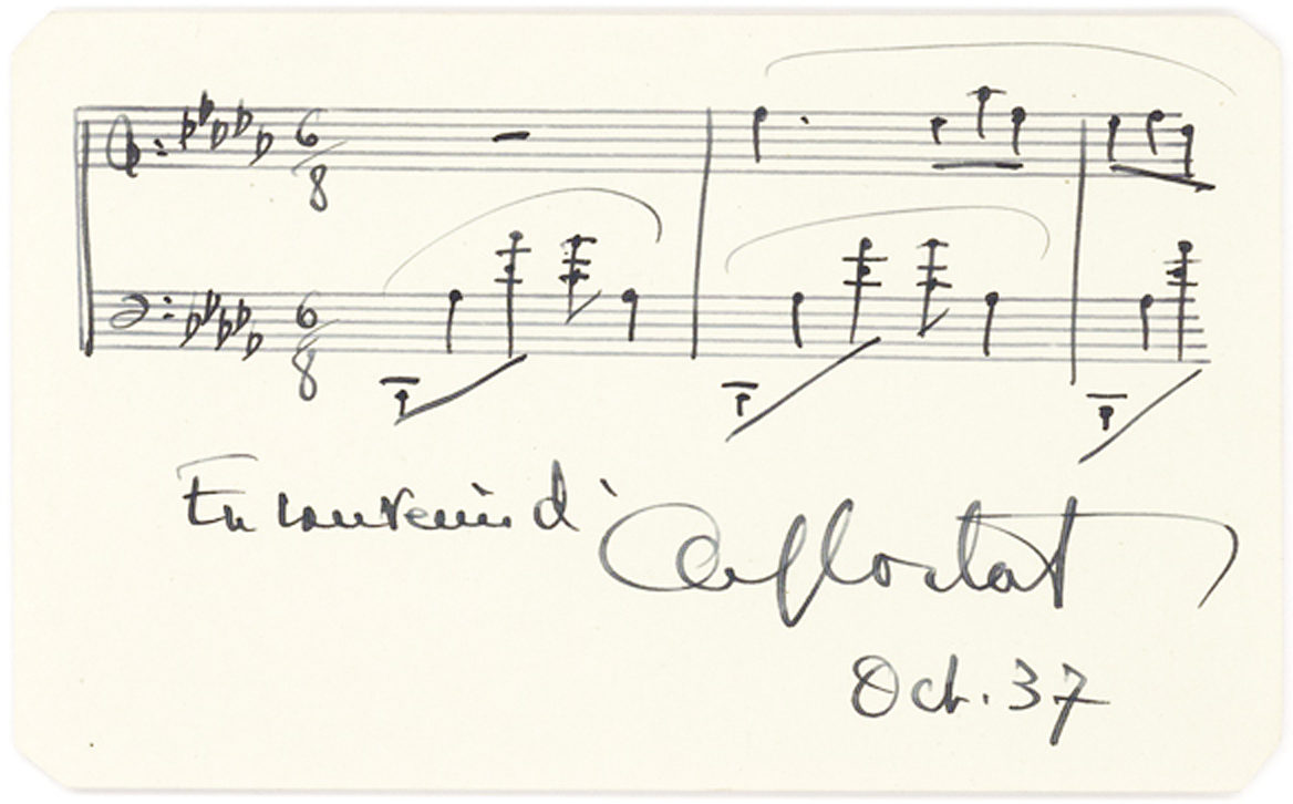 Autograph Musical Quotation of a Work by Chopin, Signed by the French-Swiss Pianist and Conductor Known for his Interpretation of the Romantic Composers
