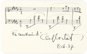 33315Autograph Musical Quotation of a Work by Chopin, Signed by the French-Swiss Pianist and Conductor Known for his Interpretation of the Romantic Composers