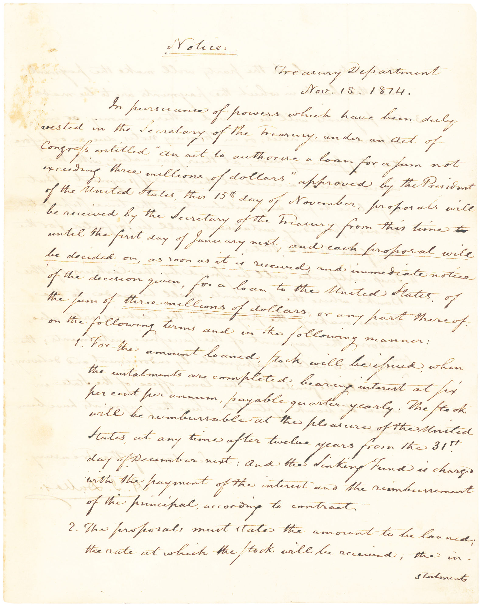 Signed Manuscript Giving Official Notice of the United States Entering the Credit Markets