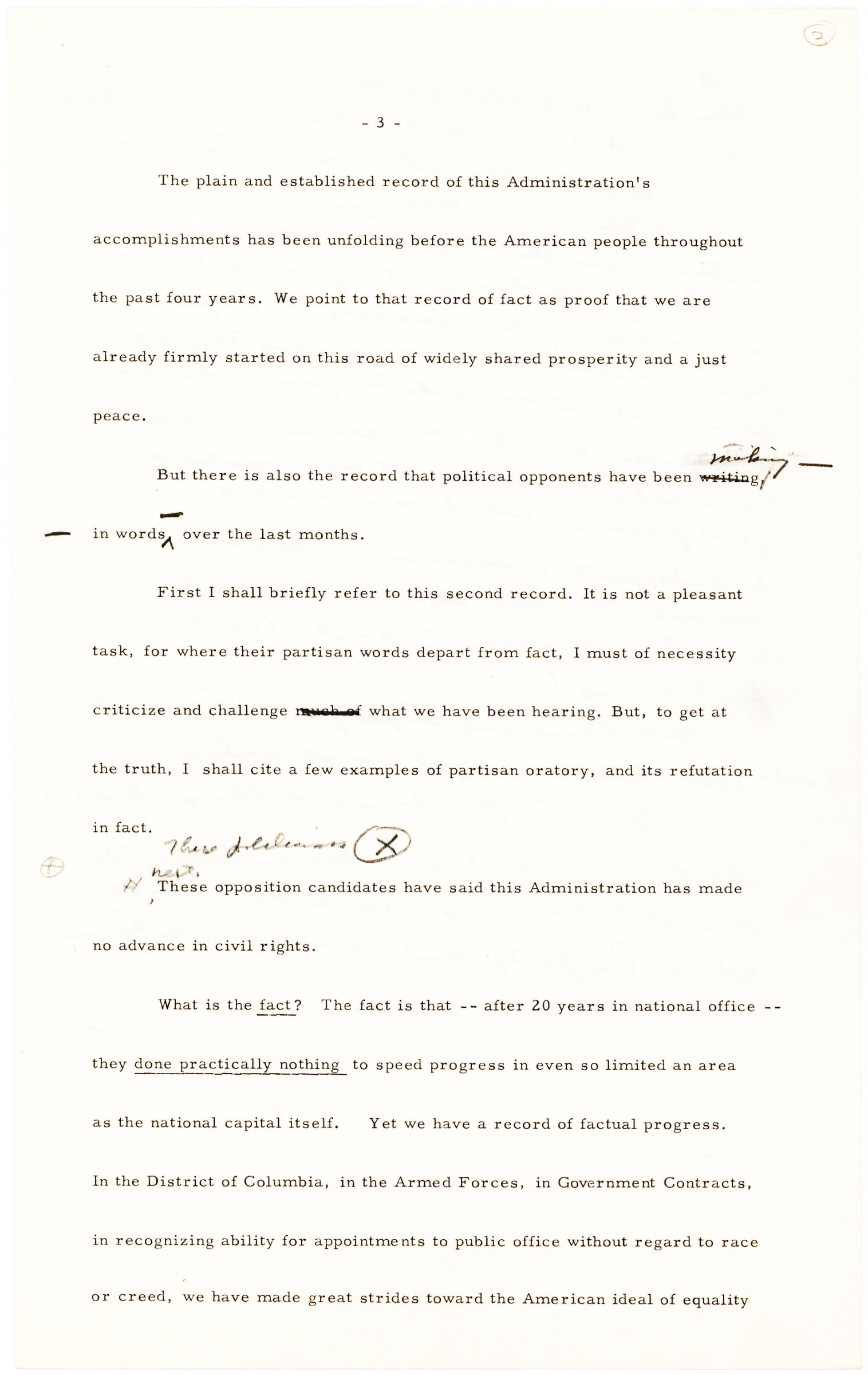 Six Pages of One of Eisenhower's Last Speeches Drafted Before Election Day 1956, Given at Pittsburgh's Hunt Armory