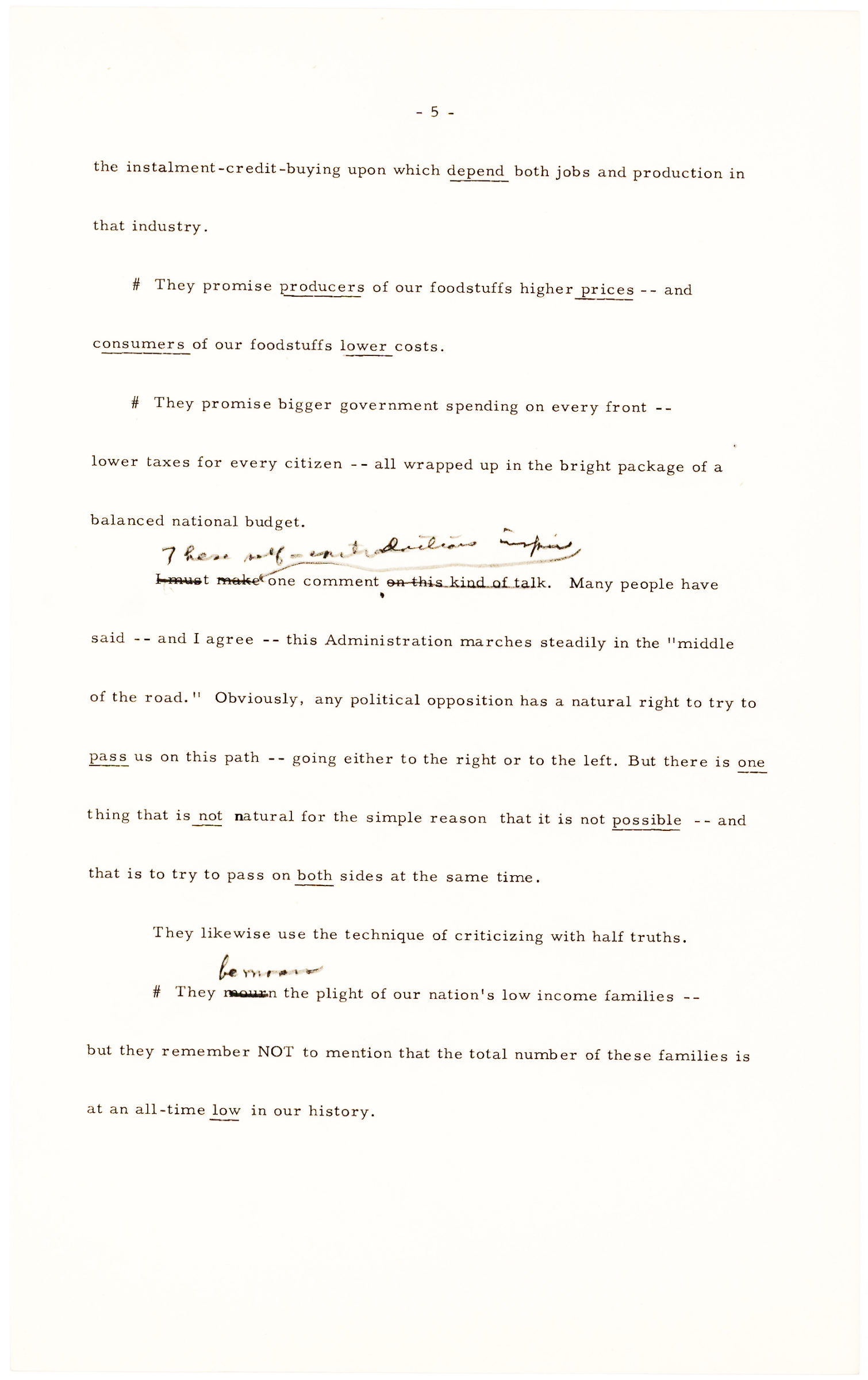 Six Pages of One of Eisenhower's Last Speeches Drafted Before Election Day 1956, Given at Pittsbugh's Hunt Armory