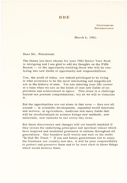 """Typed Letter Signed to the Editor of the """"Saturday Evening Post:"""" """"The handicap that the country has placed on us"""""""
