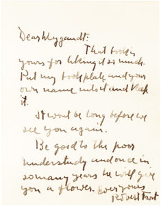 """33009Autograph Letter Signed by the American Poet and Four-Time Pulitzer Prizewinner, Author of the Beloved Poems """"The Road Not Taken"""", """"Mending Wall"""" and """"Stopping by Woods on a Snowy Evening"""""""