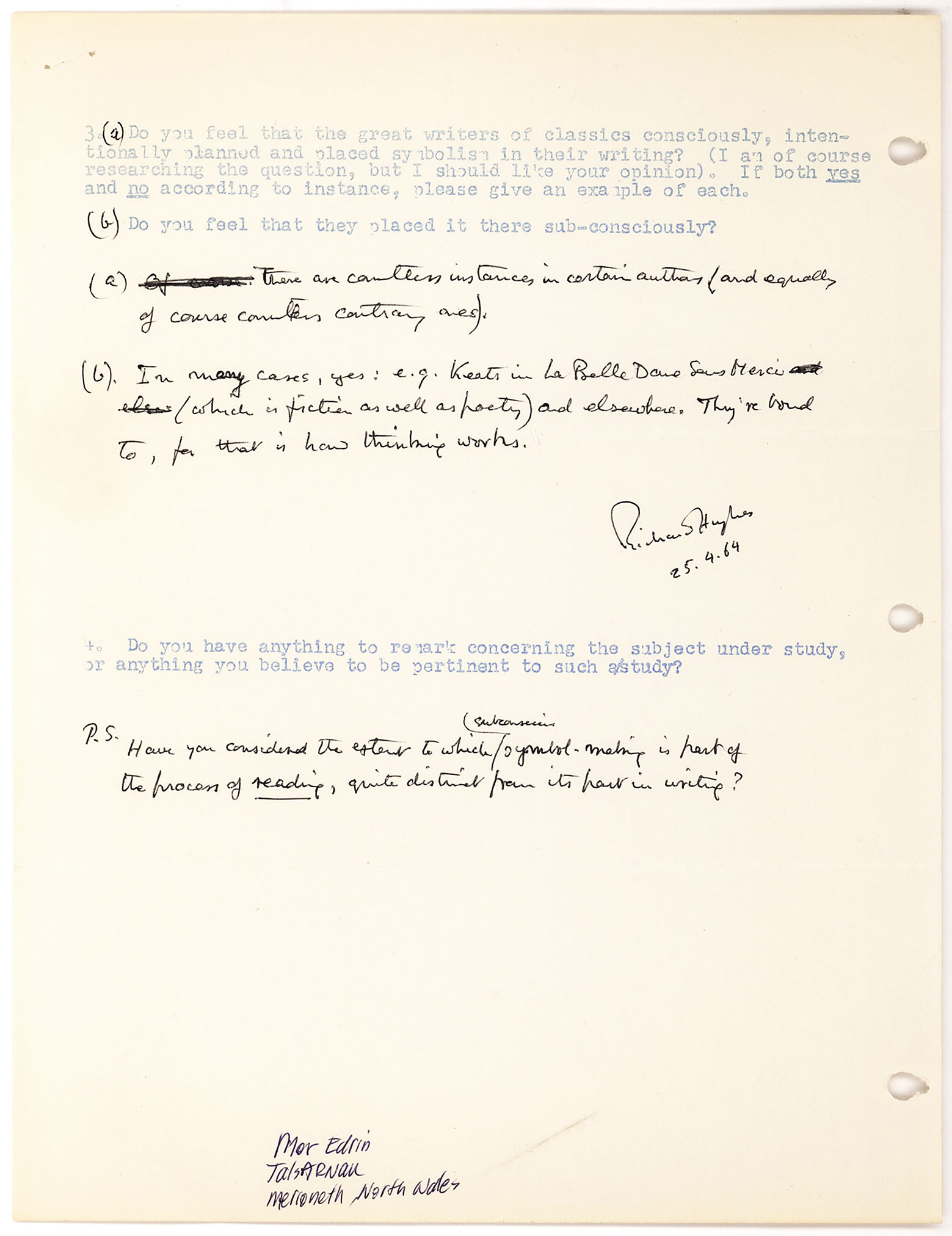 "Literary Questionnaire Filled Out and Signed by the English Author and Associate of Dylan Thomas, Best Known for his Novel ""A High Wind in Jamaica."""