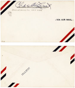 33659Signed Airmail Envelope from the Very First Airplane Passenger on a Trans-Atlantic Flight