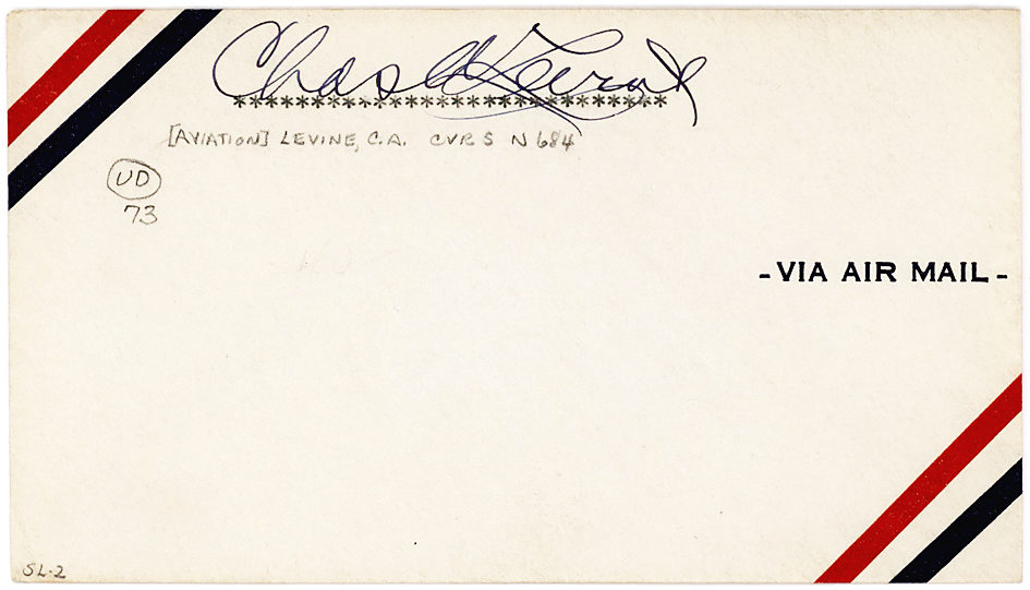 Signed Airmail Envelope from the Very First Airplane Passenger on a Trans-Atlantic Flight