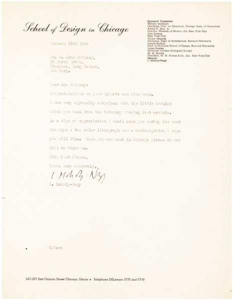 Autograph Letter from the English Sculptor Henry Moore to the American Filmmaker who is Buying his Sculpture