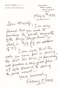 32936Autograph Letter from the English Sculptor Henry Moore to the American Filmmaker who is Buying his Sculpture