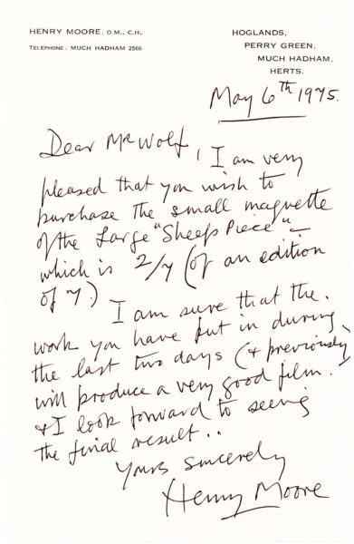 The English Modernist Sculptor Writes to the Curator of the Dutch Kröller-Müller Museum