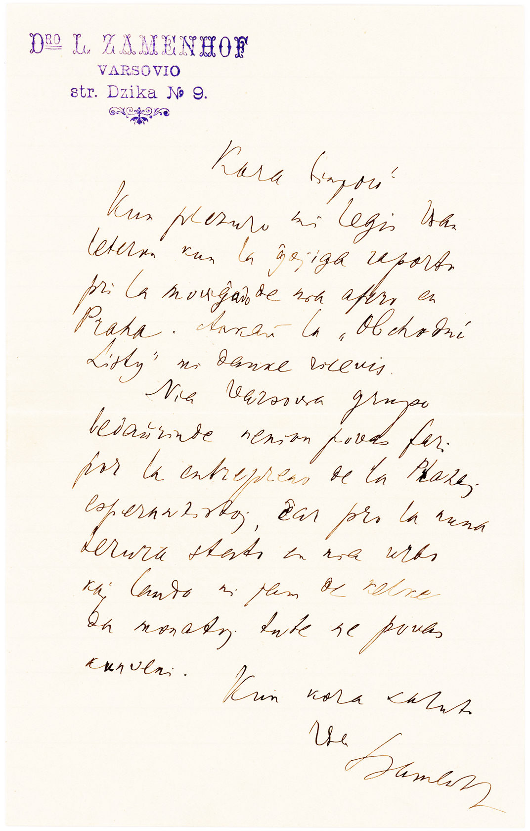 Autograph Letter in the Esperanto Language Signed by the Creator of Esperanto, who was Nominated 12 Times for the Nobel Peace Prize