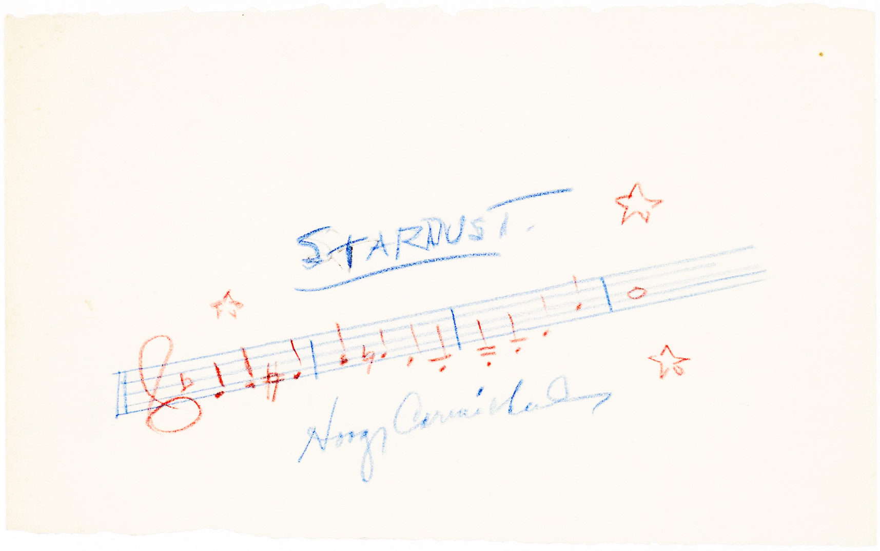 Autograph musical quotation signed by the composer of the world's most recorded song