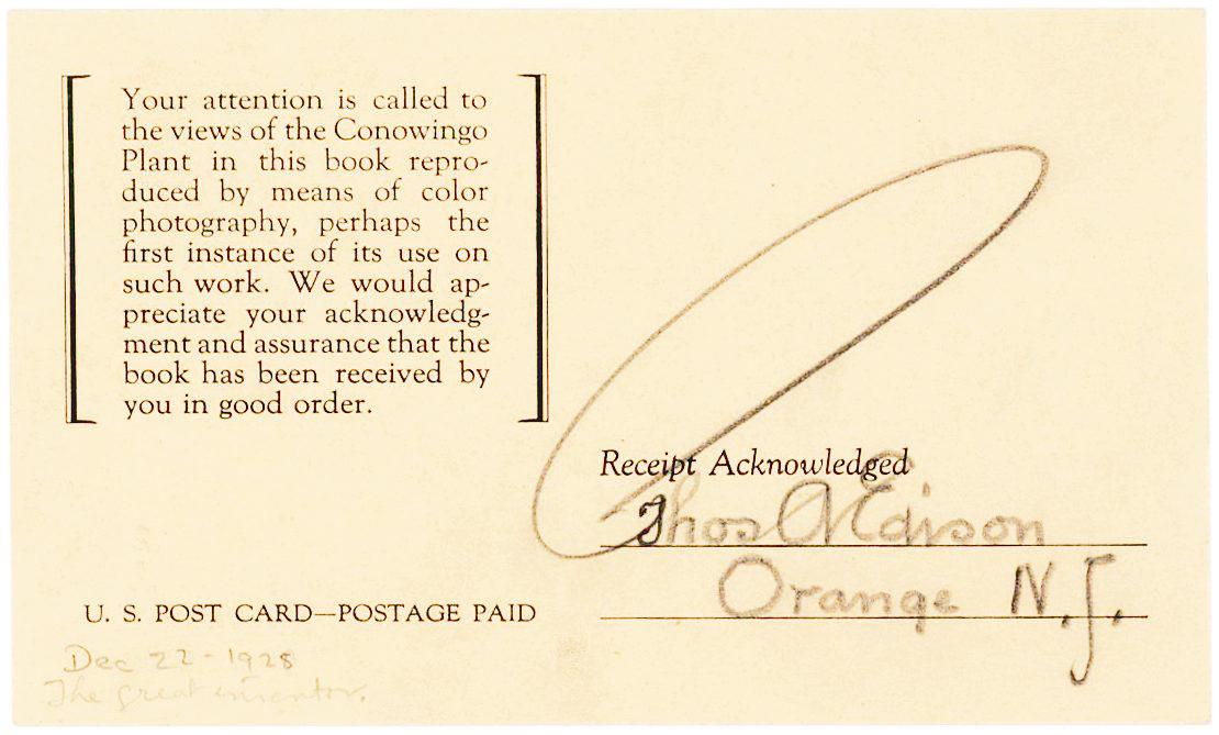 """Document with Edison's Bold """"Umbrella"""" Signature"""