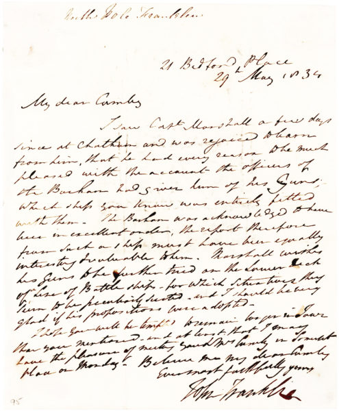 Autograph Letter Signed by the English Polar Explorer Who Led the Third Expedition in Search of Sir John Franklin