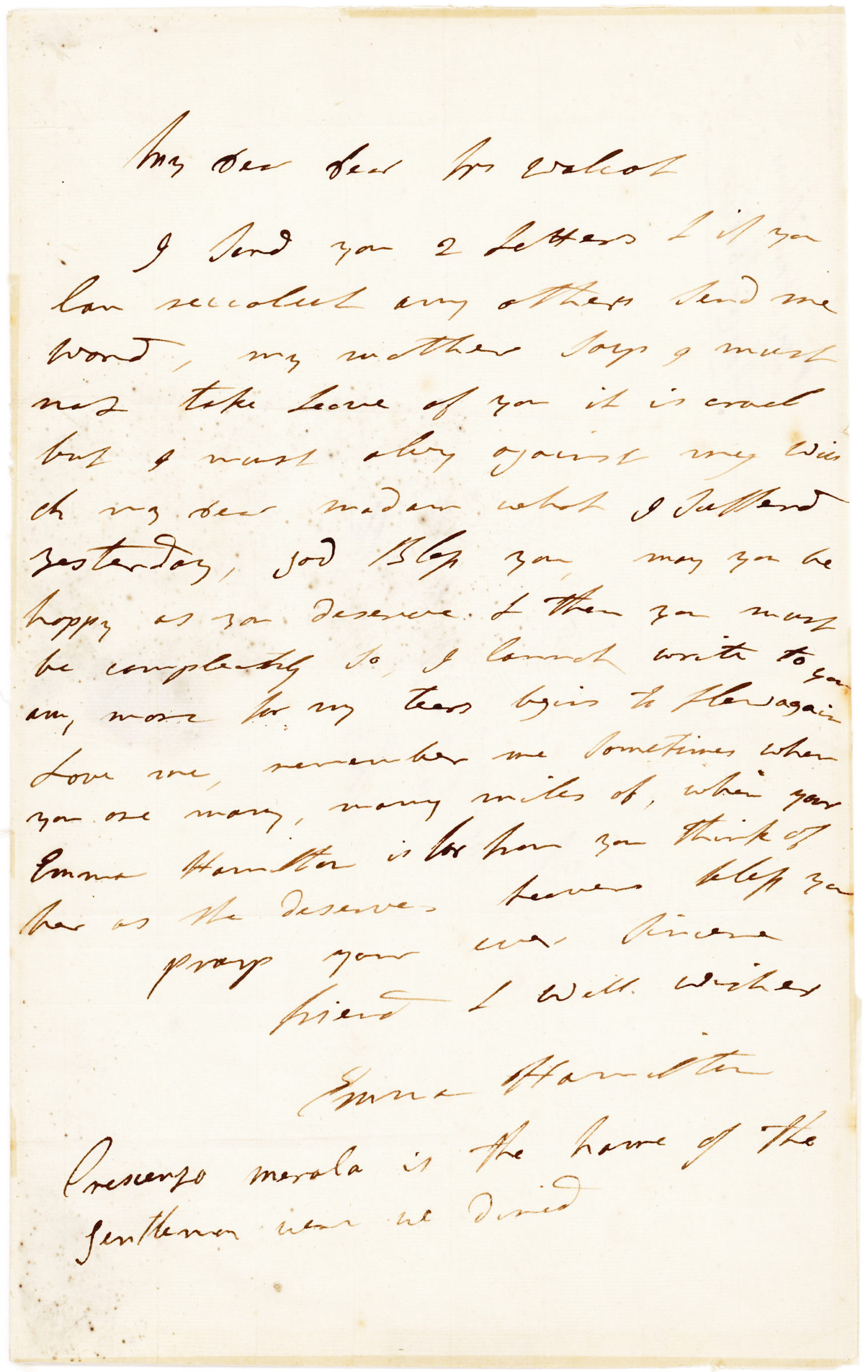 "ALS from Lord Nelson's Mistress: ""…When you are many, many miles off, when your Emma Hamilton is far from you think of her as she deserves"""