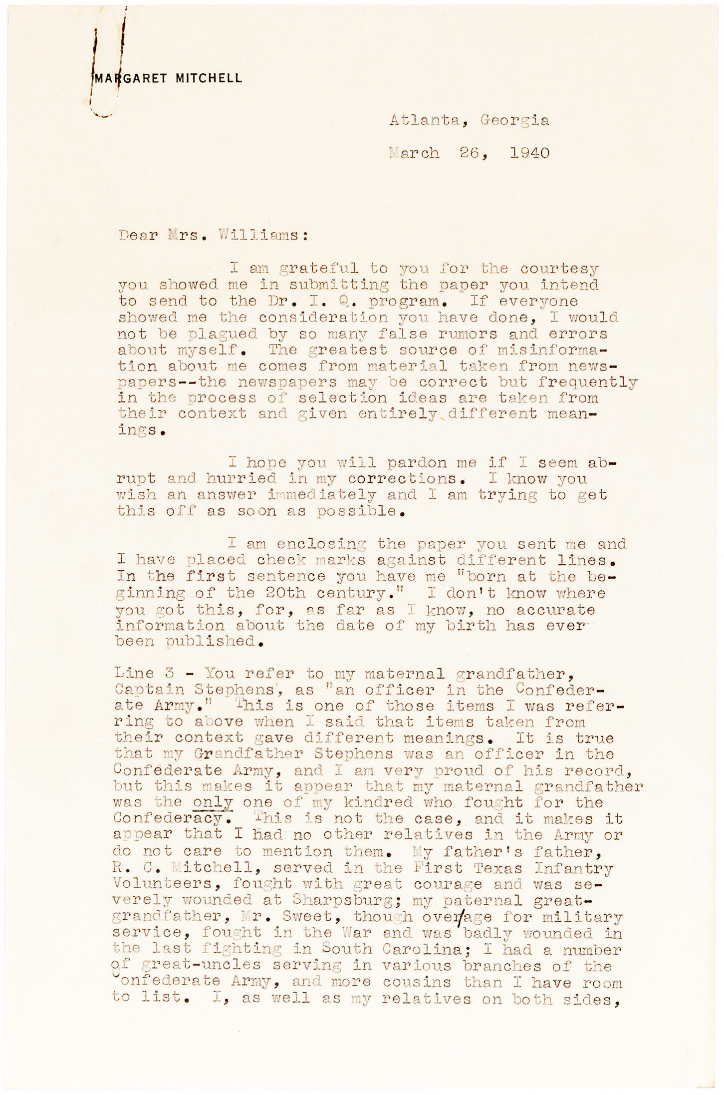 Remarkable Margaret Mitchell Letter about her Family's History and Participation in the Civil War