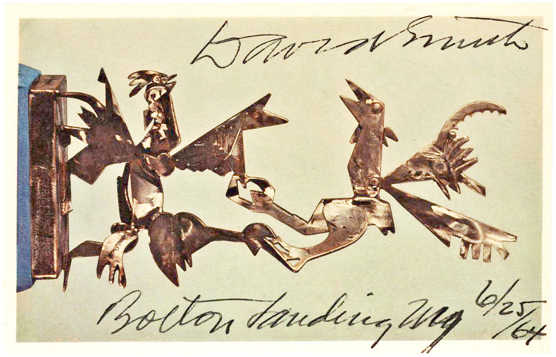 """Postcard of his 1945 sculpture, """"Cockfight – Variation"""""""