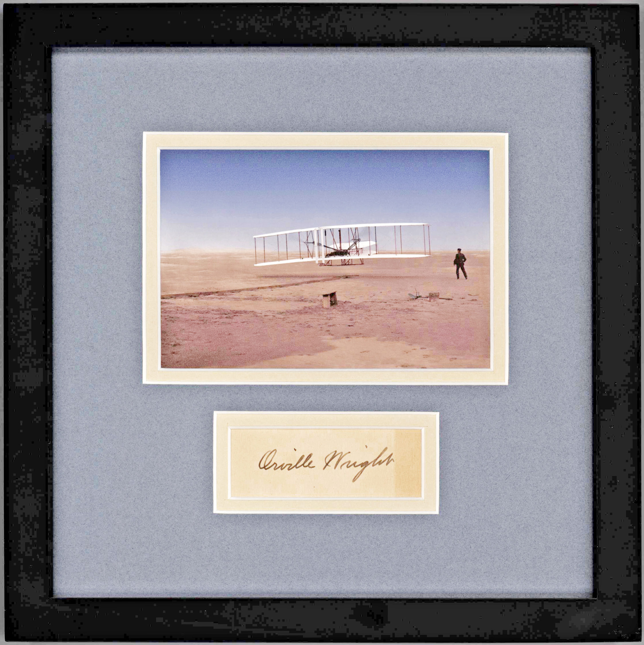 Stunning, Archivally-Framed and Matted Signature of Orville Wright