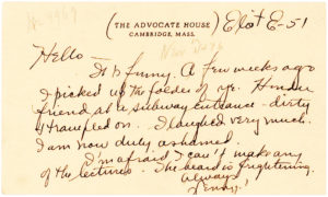 34142Letter to his girlfriend written while he was at Harvard