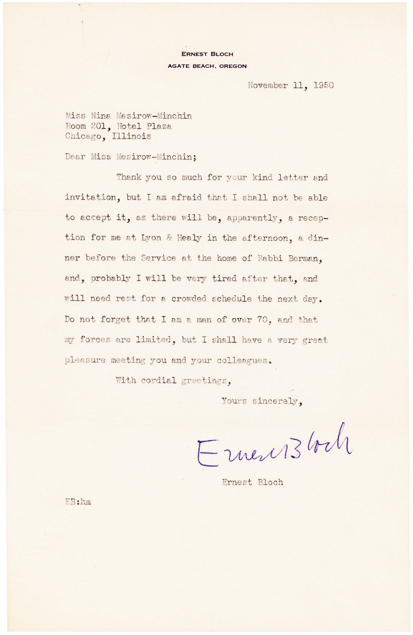Typed Letter Signed by the Swiss-born, American composer of Schelomo and other 20th-century masterpieces