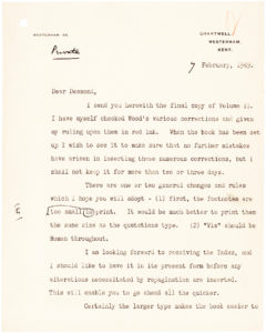 "34258Letter from the British statesman, Nobel Prize Winner and Author, Sending his Editor Corrections for ""Their Finest Hour"""