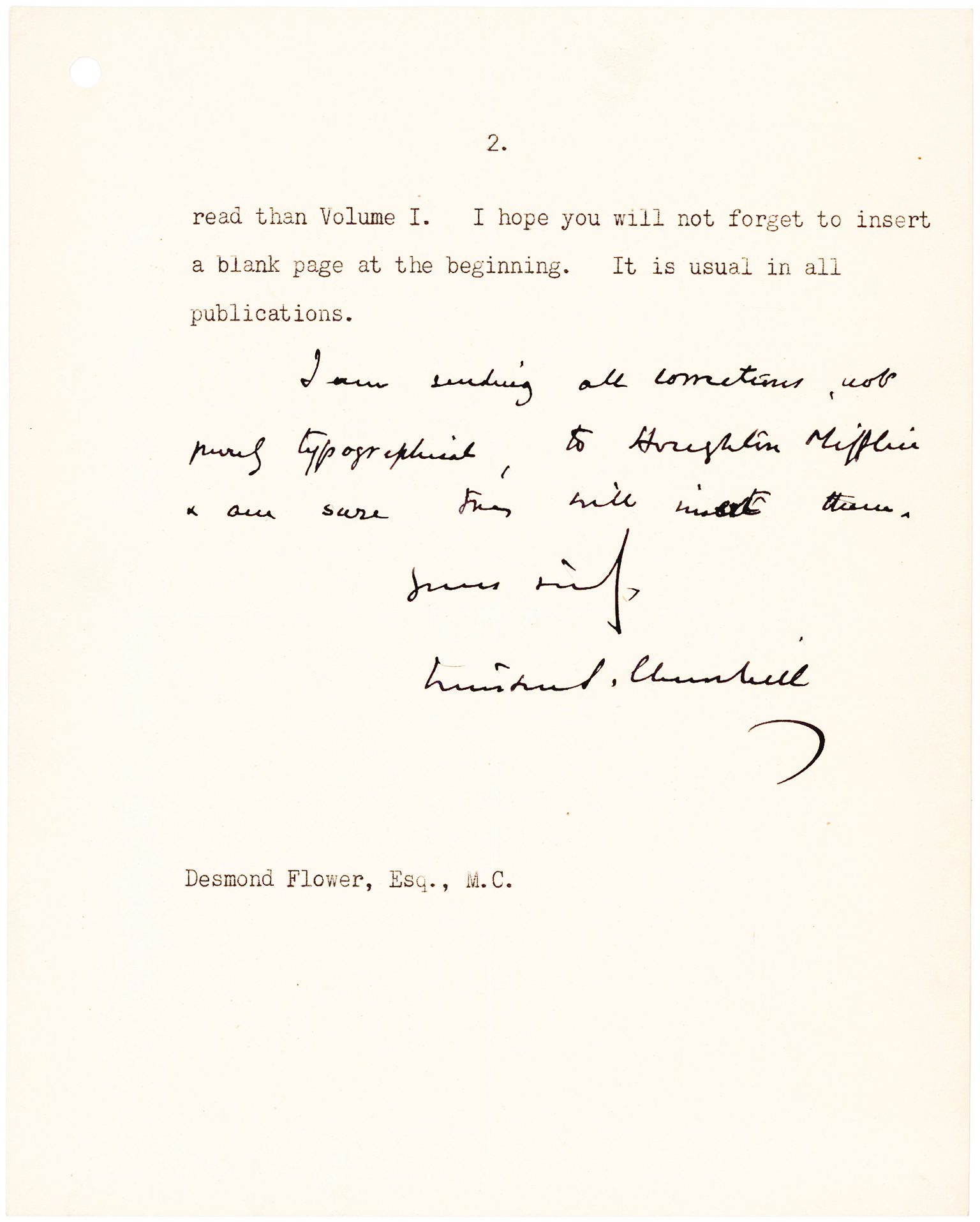 """Letter from the British statesman, Nobel Prize Winner and Author, Sending his Editor Corrections for """"Their Finest Hour"""""""