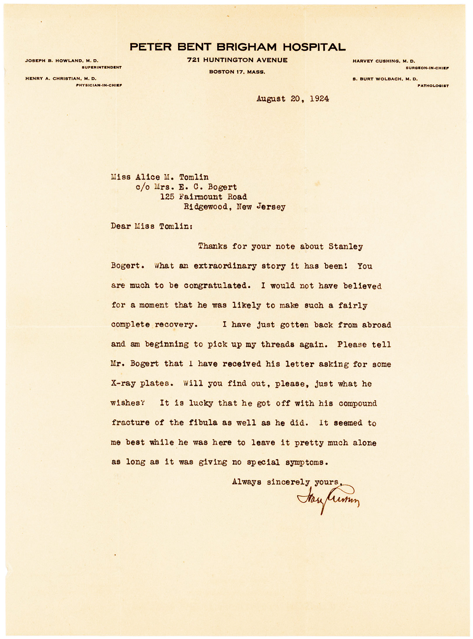 "Letter from Pioneer Neurosurgeon Harvey Cushing: ""It is lucky that he got off with his compound fracture of the fibula as well as he did"""