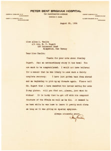 "34272Letter from Pioneer Neurosurgeon Harvey Cushing: ""It is lucky that he got off with his compound fracture of the fibula as well as he did"""