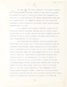 "34289Hand-Corrected Typescript from U.S. Senator John F. Kennedy, About British Actions Leading Up To World War II and Mentioning England, Munich, Czechoslovakia, the Churchills and ""Why England Slept"""