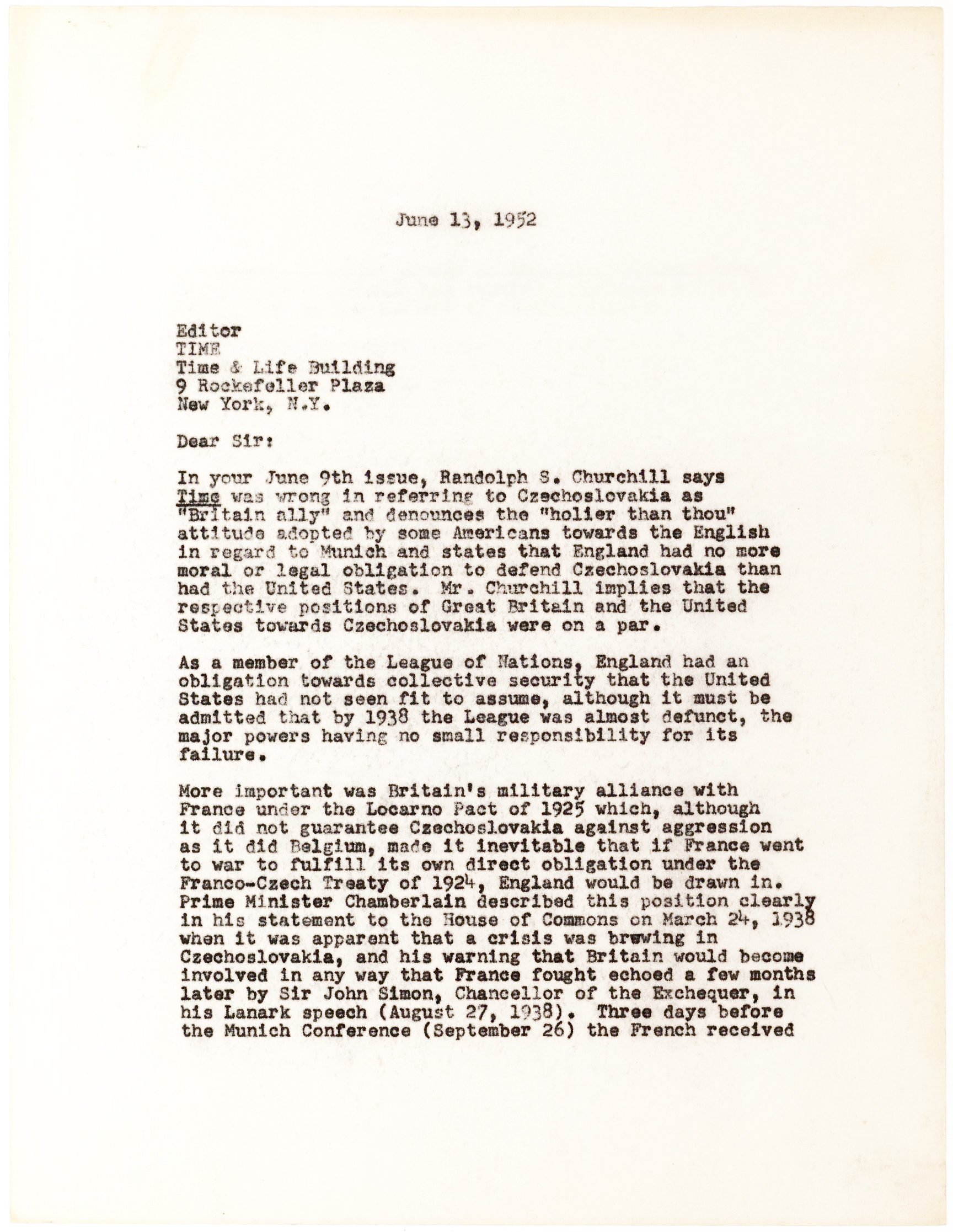"""John F. Kennedy's Hand-Corrected Typescript About British Actions Leading Up To World War II and Mentioning England, Munich, Czechoslovakia, the Churchills and """"Why England Slept"""""""