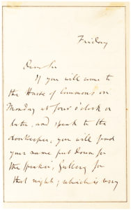 34284Autograph Letter from Influential English philosopher and political theorist John Stuart Mill, Assisting a Visitor to the House of Commons