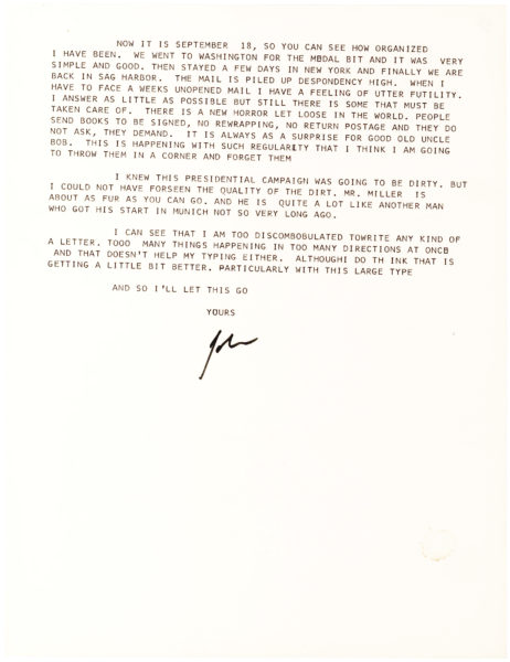 A Typed Letter Signed by the Nobel and Pulitzer Prize Winning Author to Nazi Sympathizer and Propagandist Otto Koischwitz