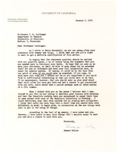 "34311Typed Letter Signed by the Hungarian-American Physicist Known as ""The Father of the Hydrogen Bomb"" Edward Teller"