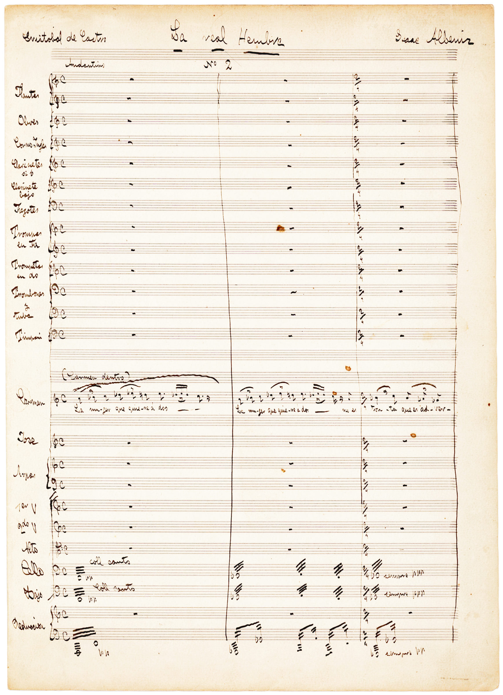 Rare Autograph Manuscript by One of Spain's Leading Composers, Isaac Albeniz