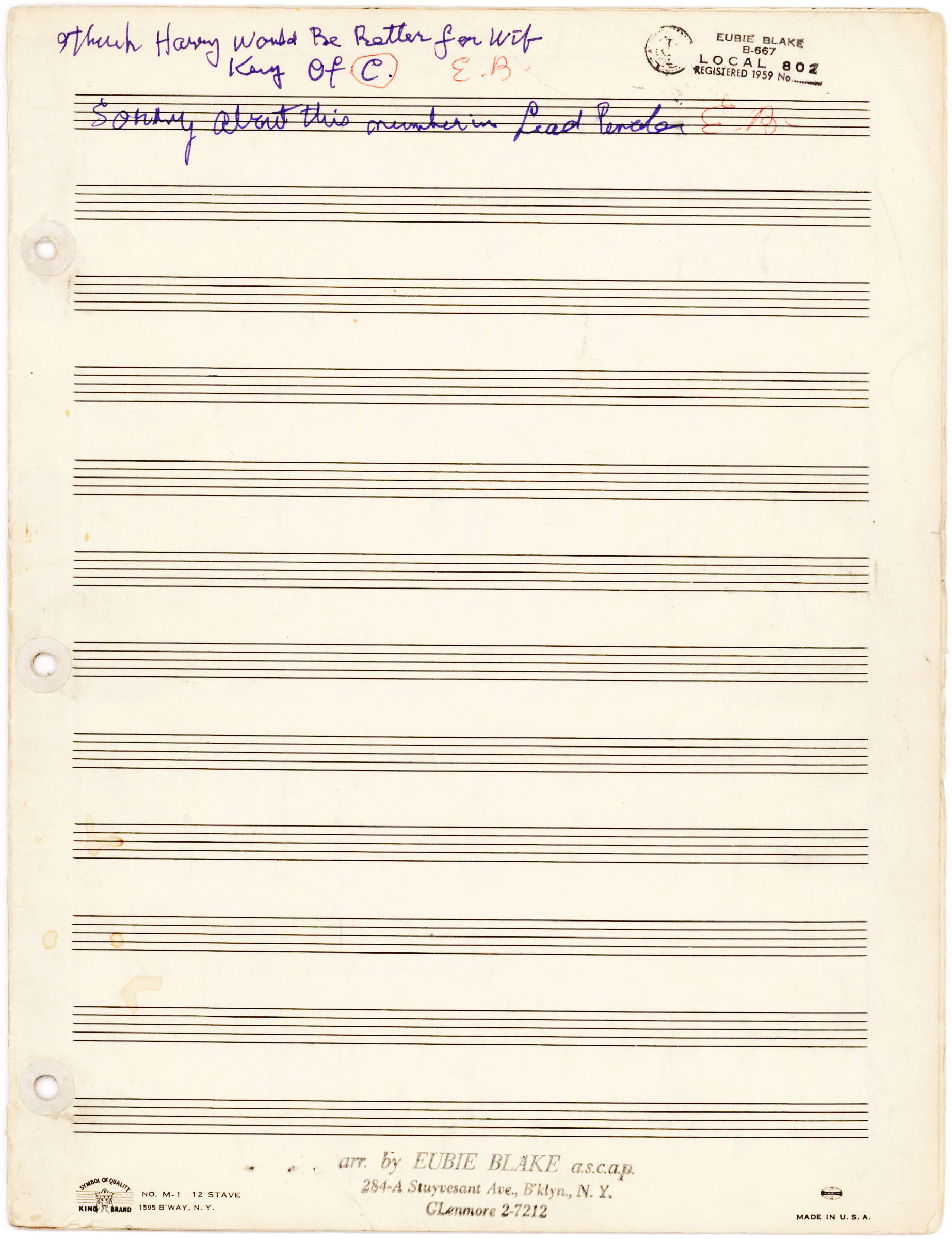 "Full Autograph Manuscript of ""I'm Just Wild about Harry"" with Notes and Signature"