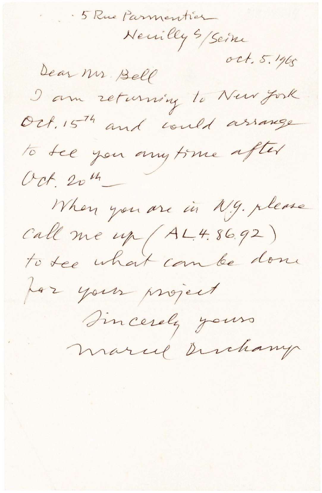 Rare ALS from the Influential Dada Artist who Revolutionized 20th-Century Art