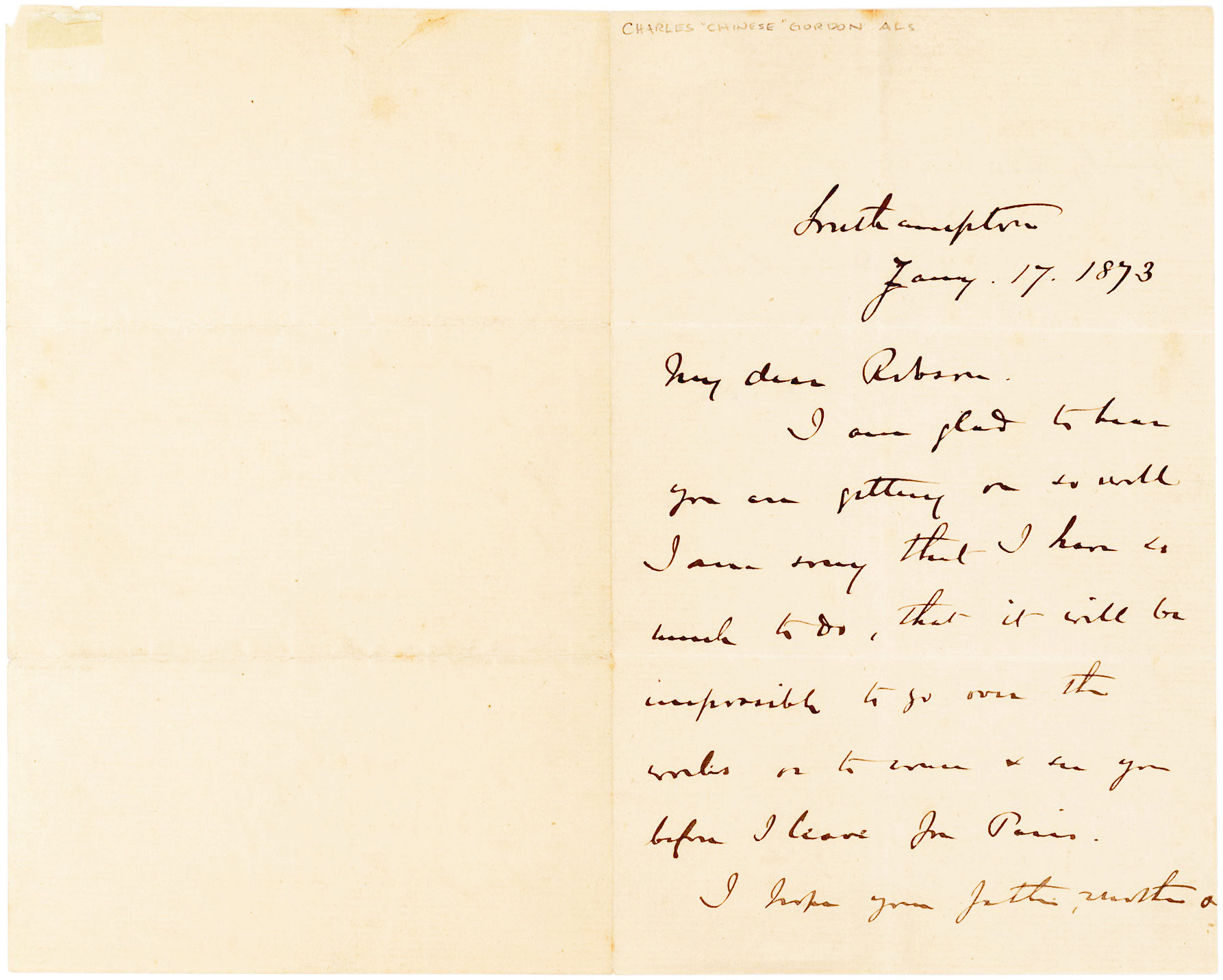 "Autograph Letter Signed by ""Chinese Gordon,"" the British Officer Instrumental in Putting Down the Taiping Rebellion"