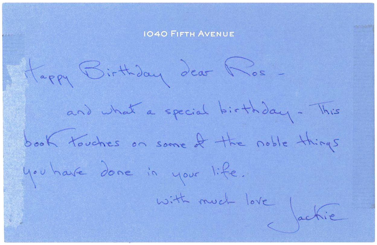 Autograph Letter from Former First Lady Jacqueline Kennedy, Written on her Blue Stationery Card to Roswell Gilpatric, Presidents Kennedy and Johnson's Deputy Secretary of Defense, With Whom she was Intimately Involved